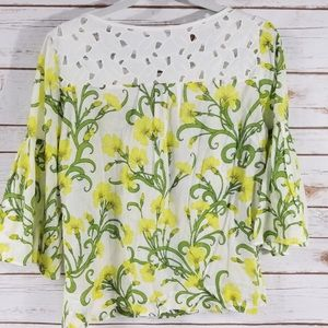 Anthropologie Floral Lace Bell Sleeve HD Blouse